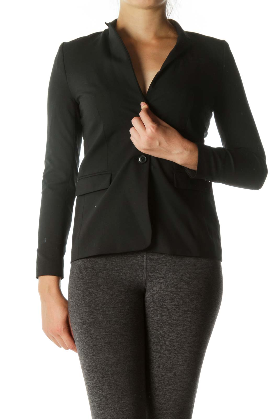 Black Padded Pocketed Blazer