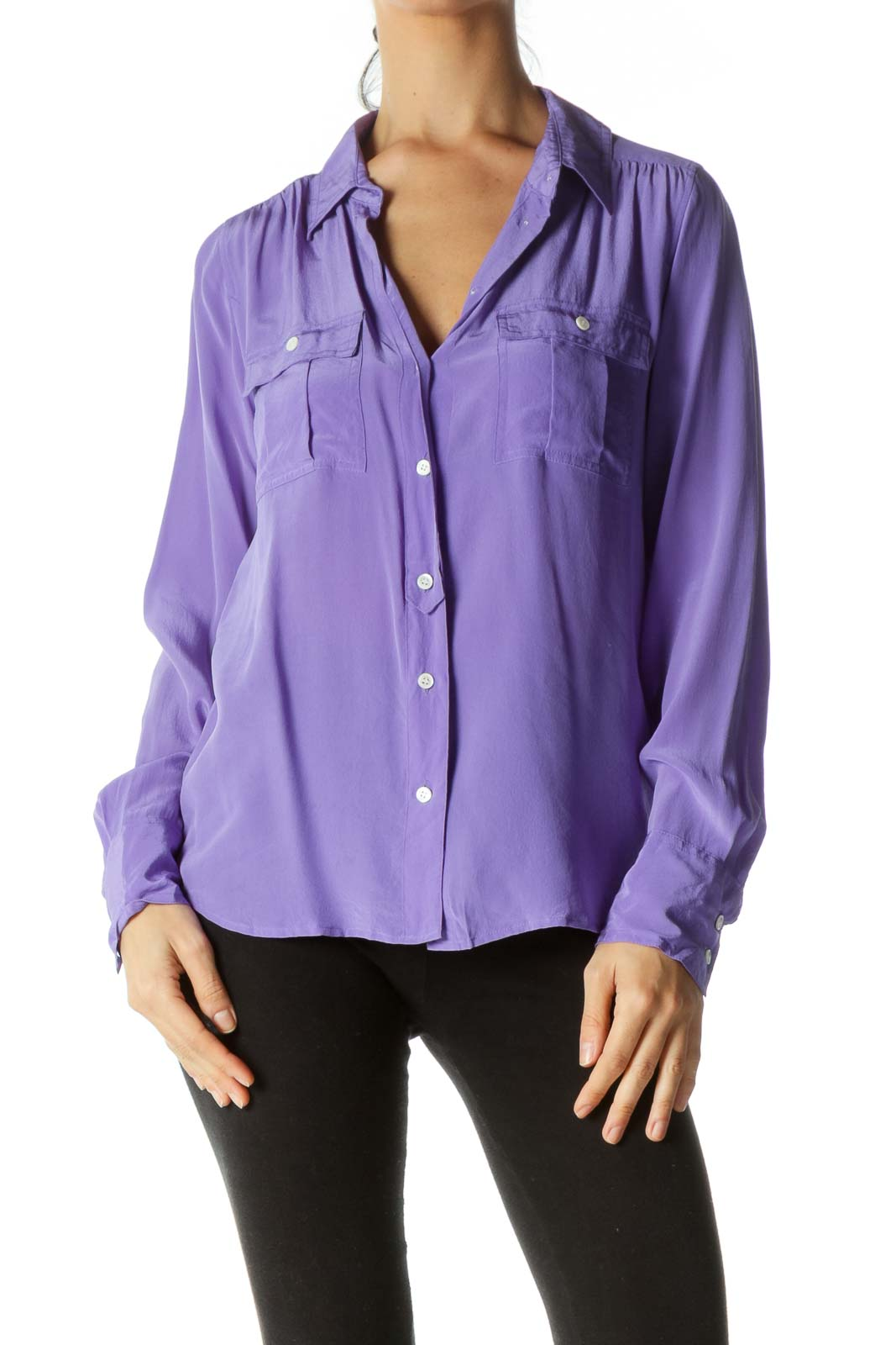 Purple 100% Silk Buttoned Pockets Shirt