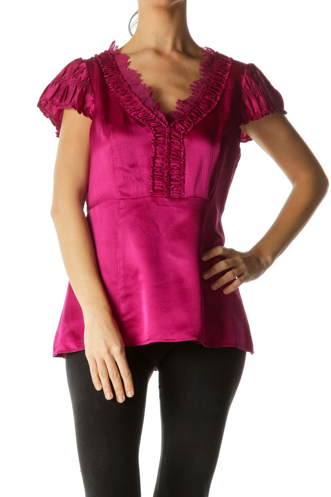 Magenta Silk Lace Ruched Top