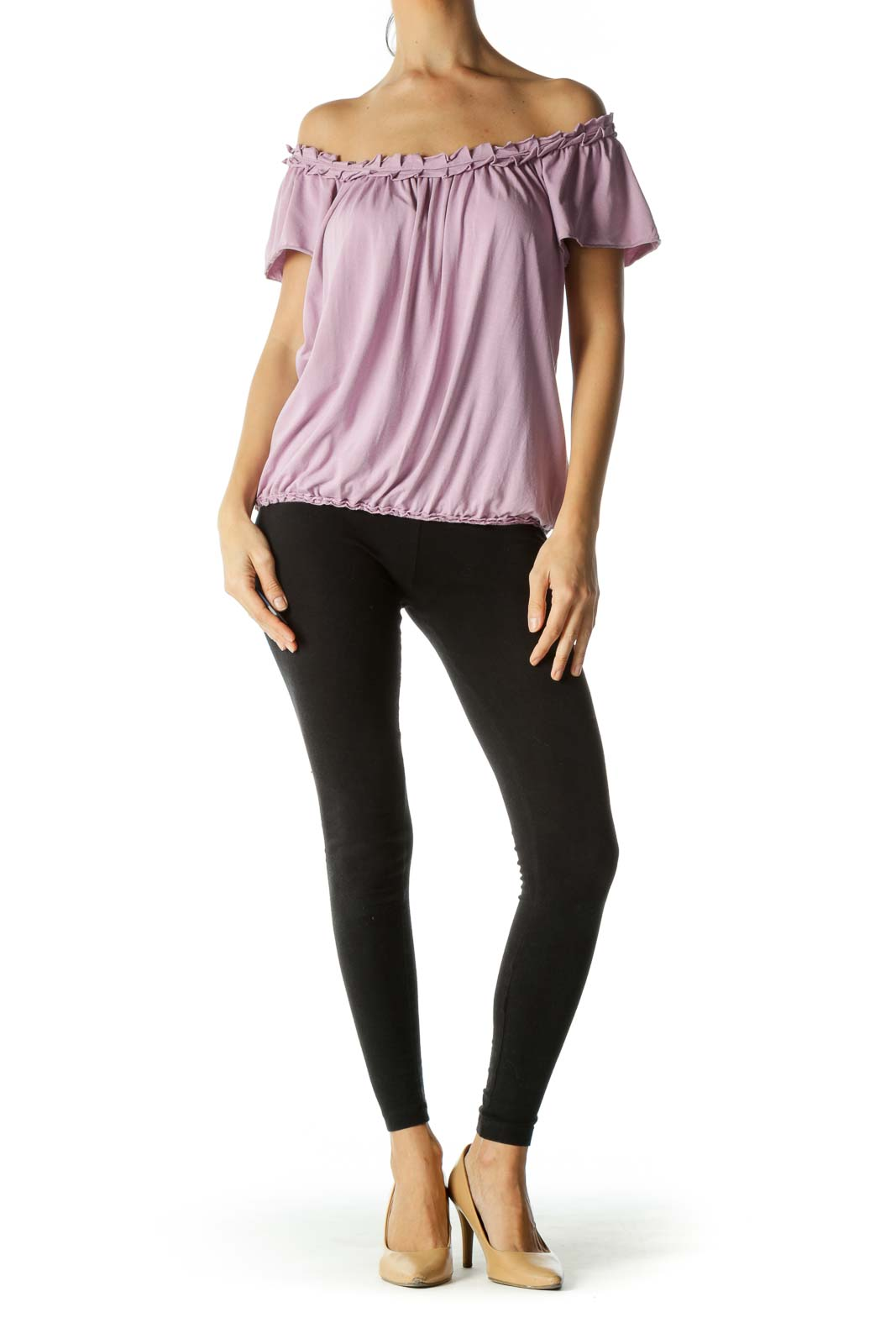 Purple Ruffled Collar Elastic Waist Top