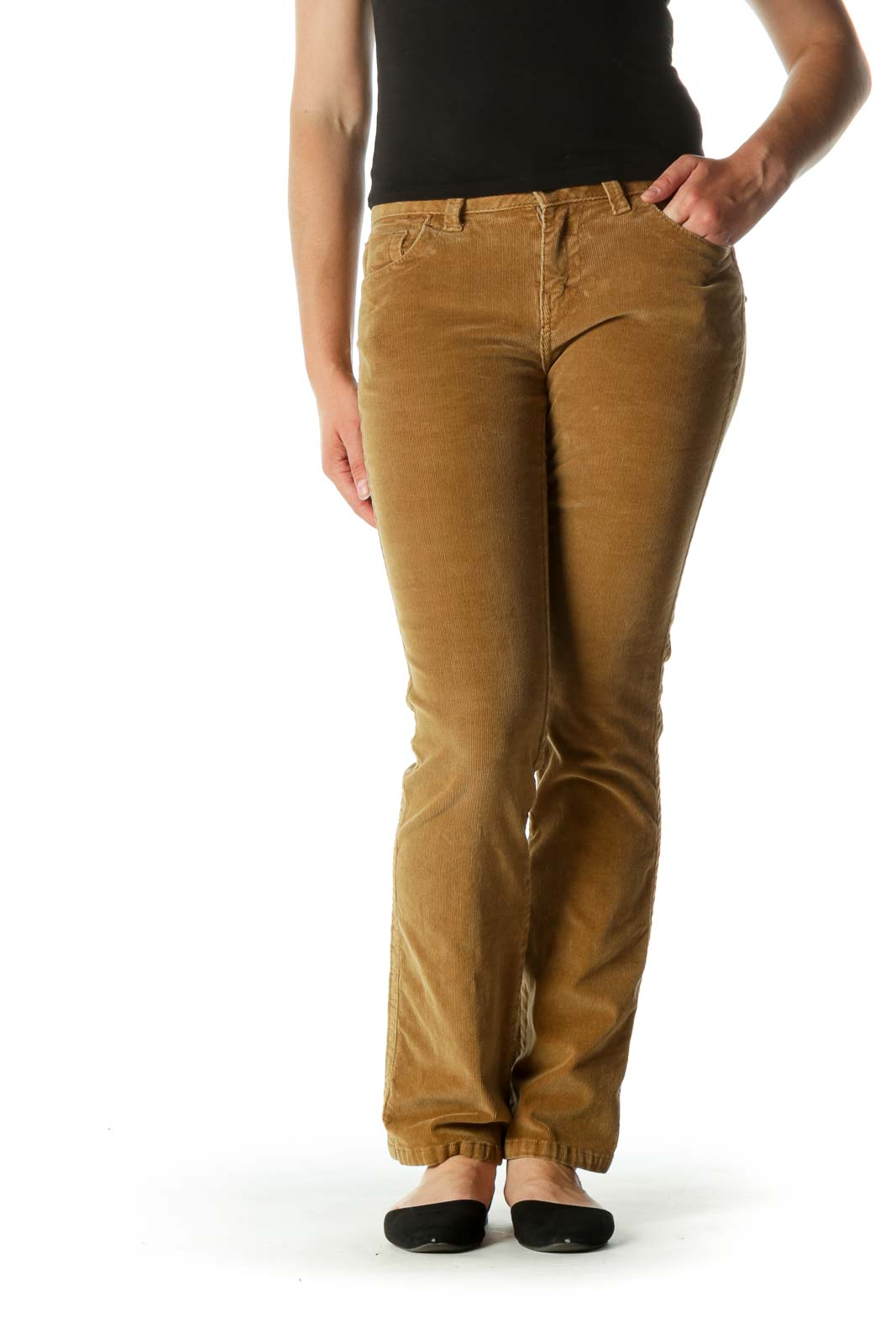 Khaki Corduroy Lean Boot-cut Pants