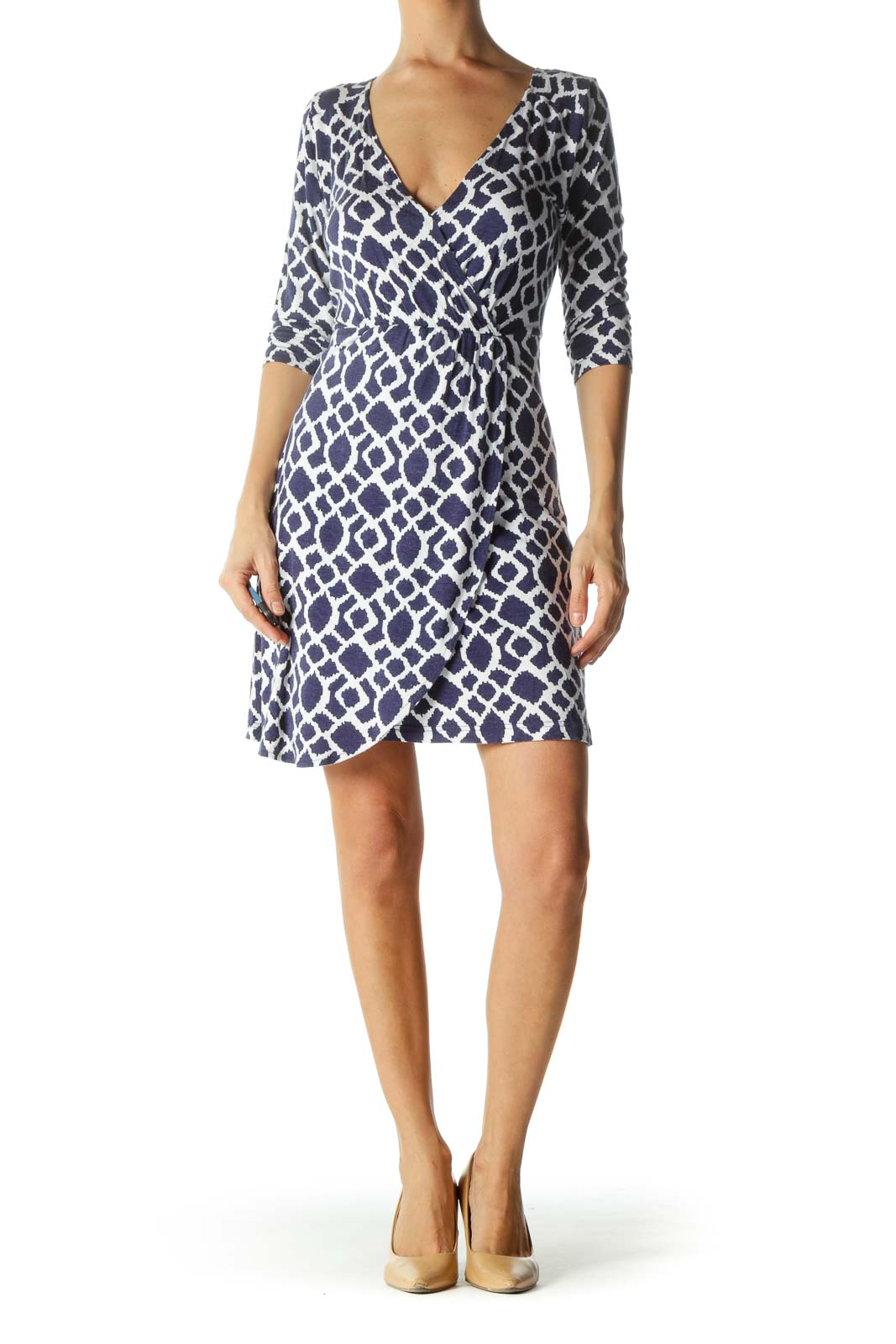 Blue and White V-Neck Print Wrap Dress