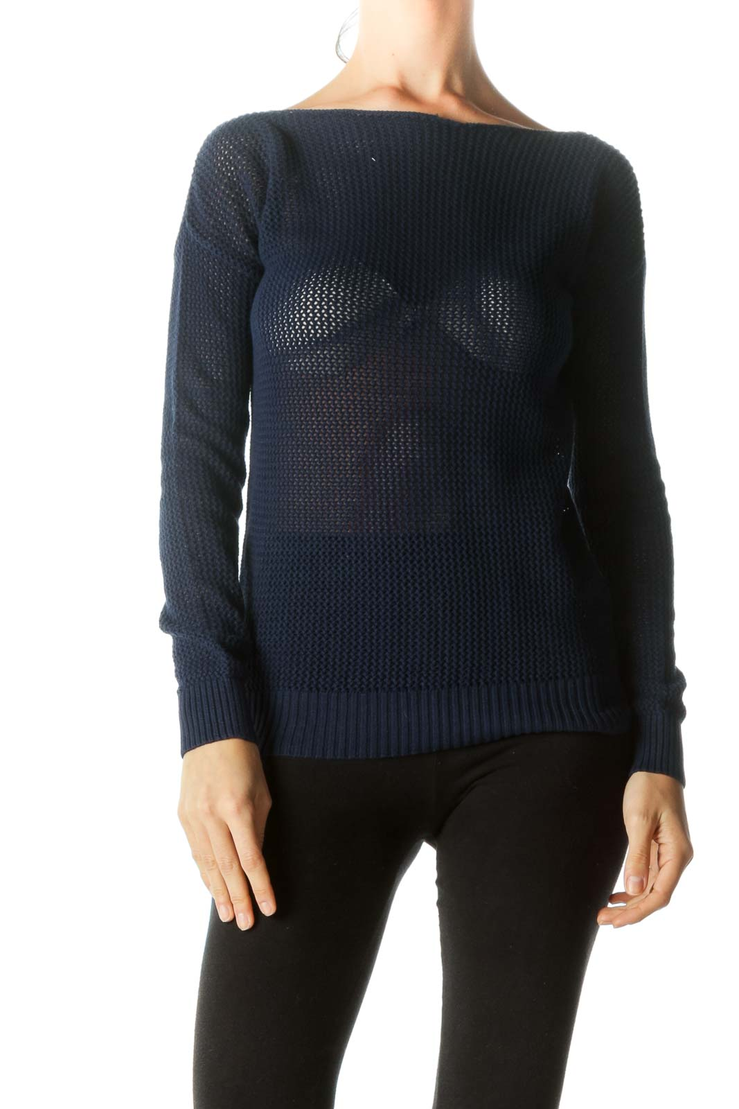 Blue Boat Neck See-Through Knit Top