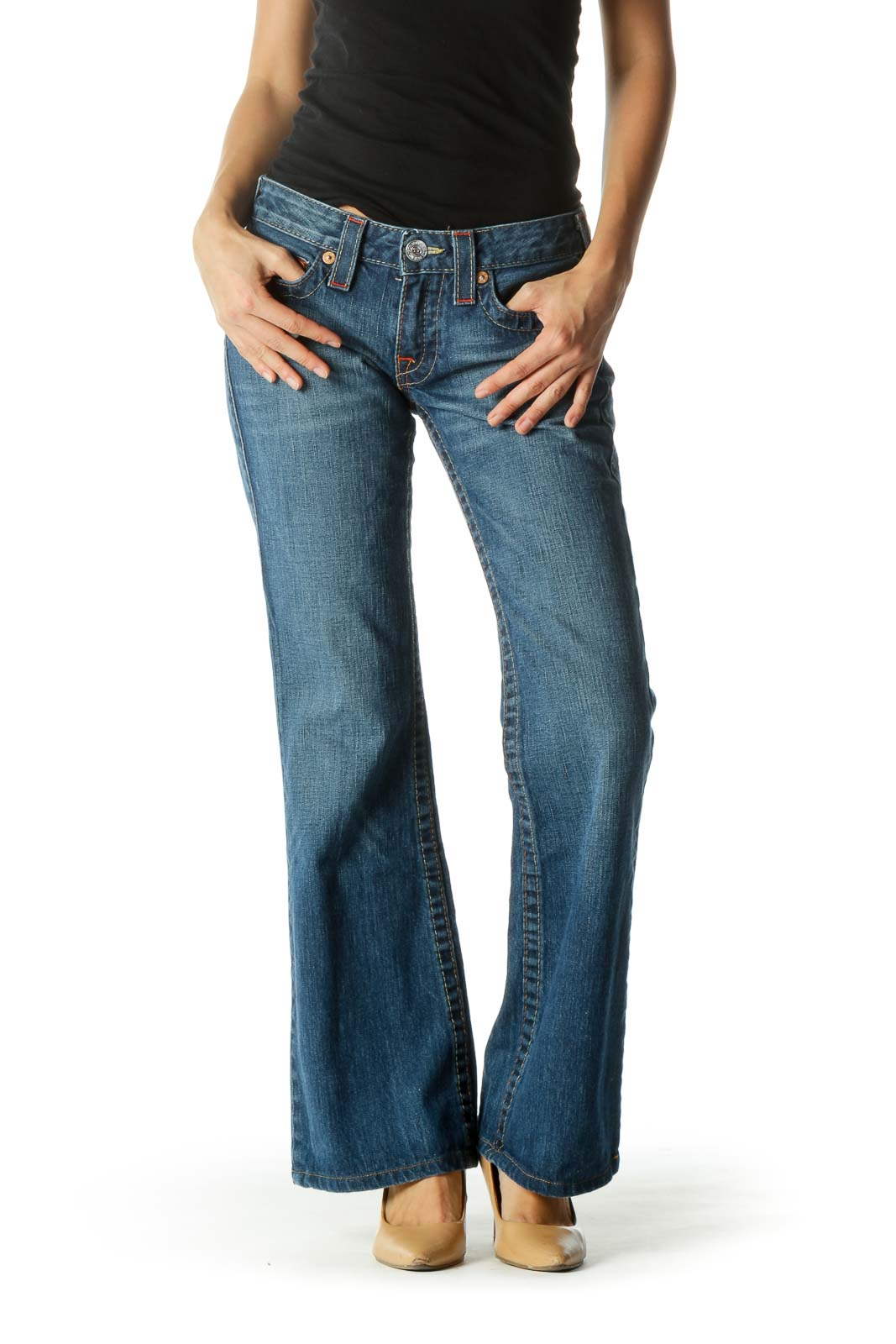 Blue Medium-Wash Stitched Flared Denim Jeans