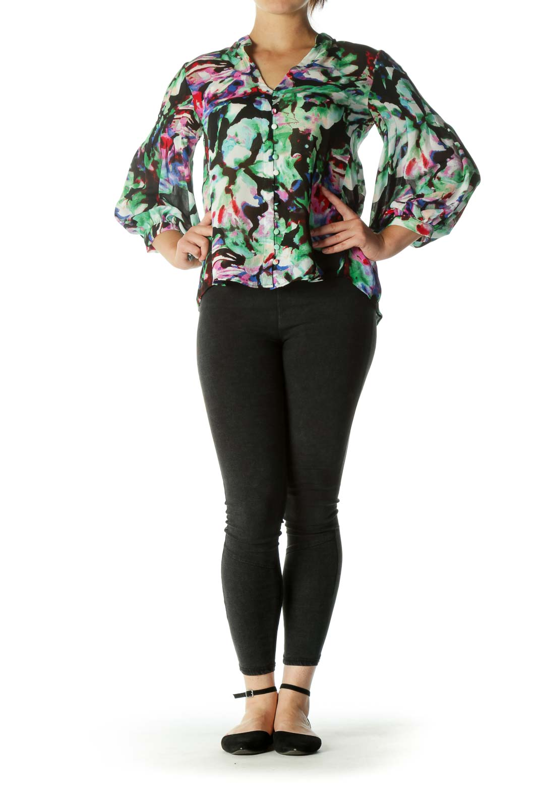 Multicolor V-Neck Fabric Buttons Abstract Print Shirt