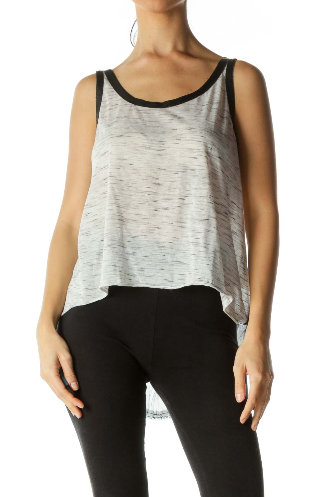 Black Gray White Mixed Media Tank Top