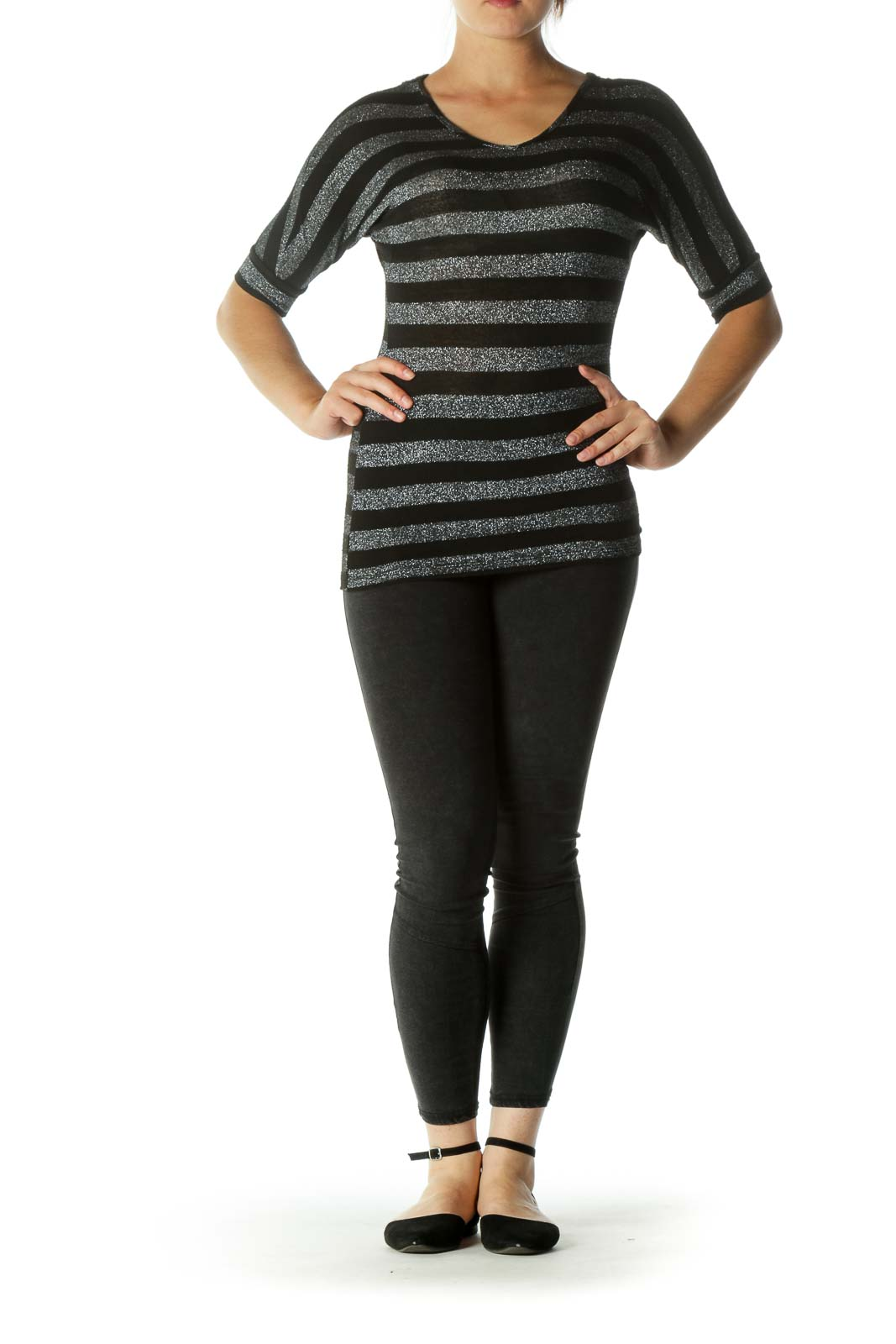 Black Silver V-Neck Striped Knit Back Bat Sleeves Top