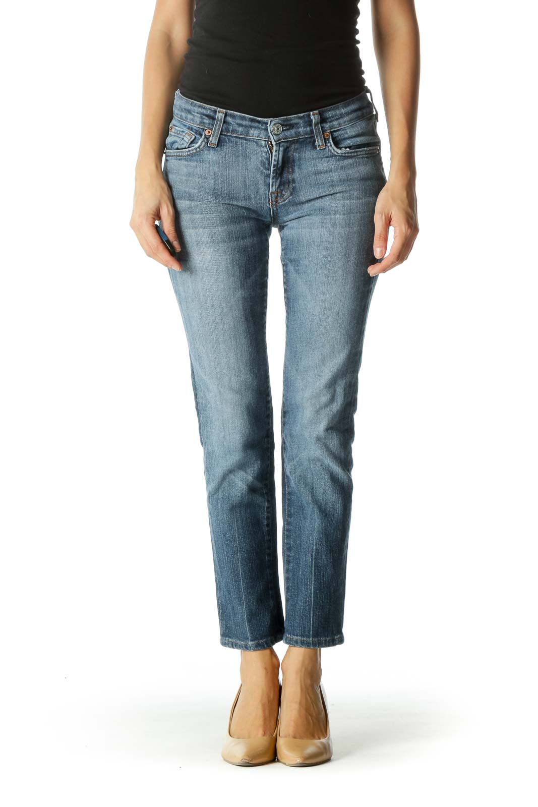 Blue Straight Leg Pocketed Denim Pants