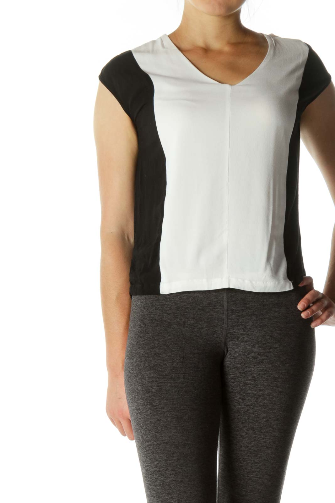 Black White V-Neck Color Block Soft Top