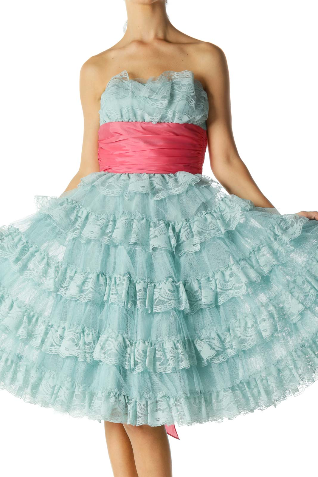 Blue Pink Lace Strapless Flared Cocktail Dress