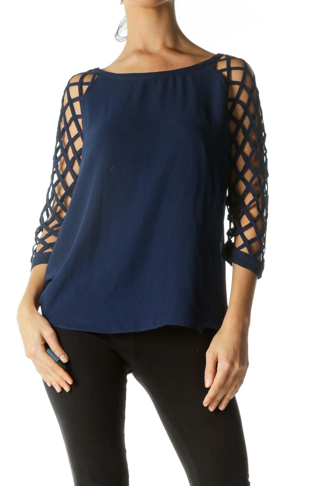 Blue Net Sleeves Round Neck Top
