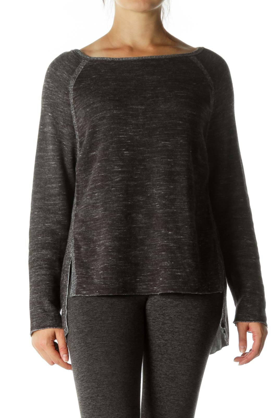 Gray White Round Neck Long Sleeve Stretch Sweater