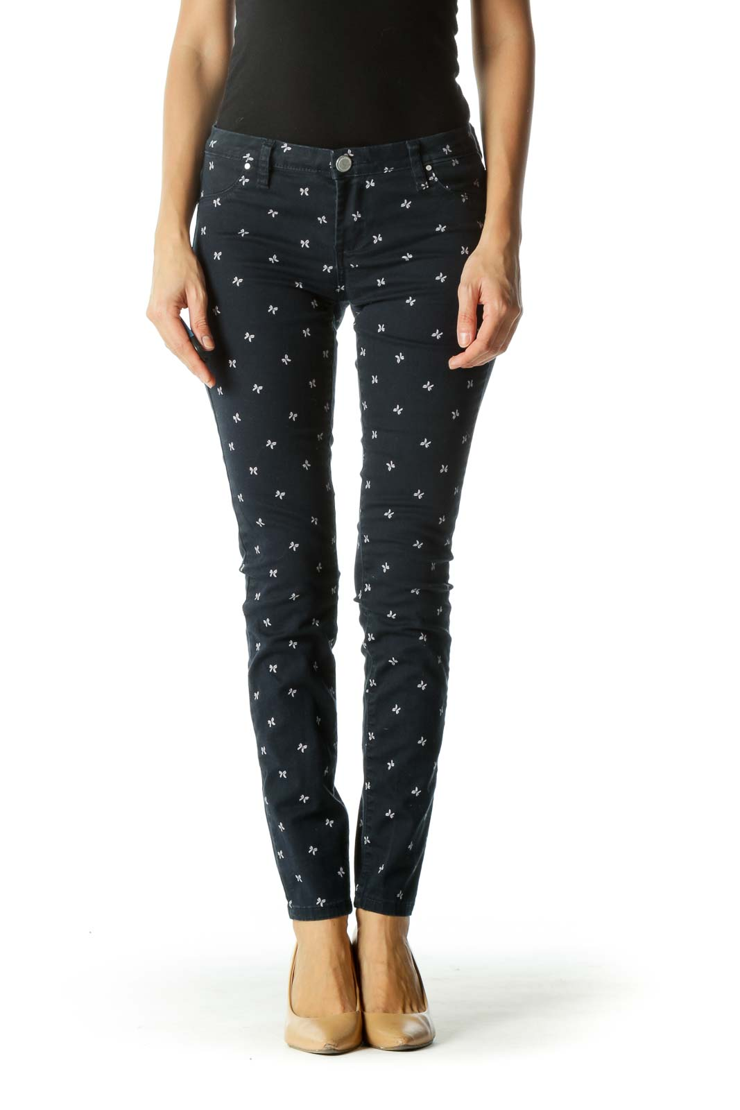 Blue Bow Patterned Slim-Fit Pants