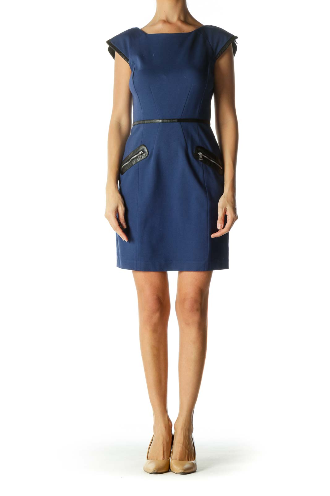 Blue and Black Zippered Back Sheath Dress
