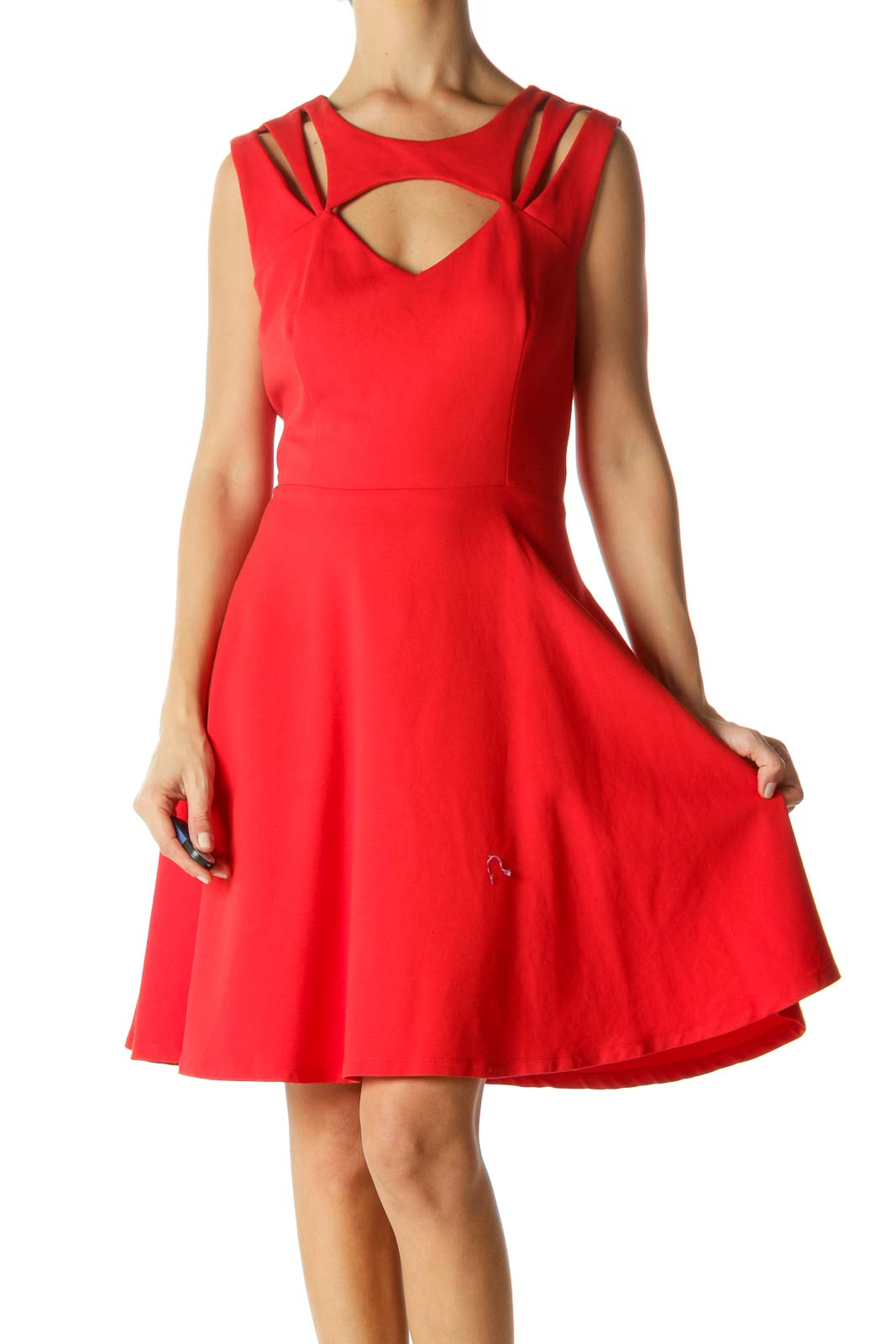 Red Round-Neck Cut-Out Stretch Cocktail Dress