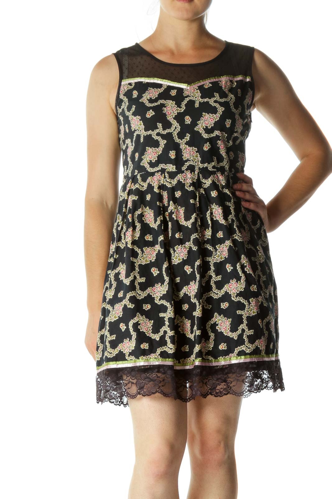 Black Blue Pink Beige 100% Cotton Floral Print Mixed Media Dress