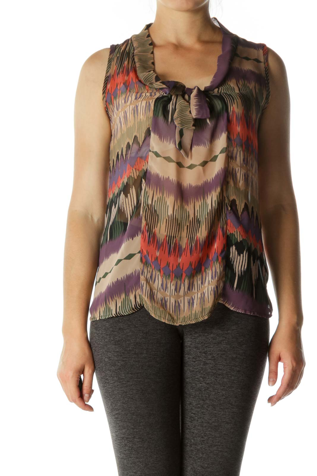 Multicolored Print Translucent Tank Top