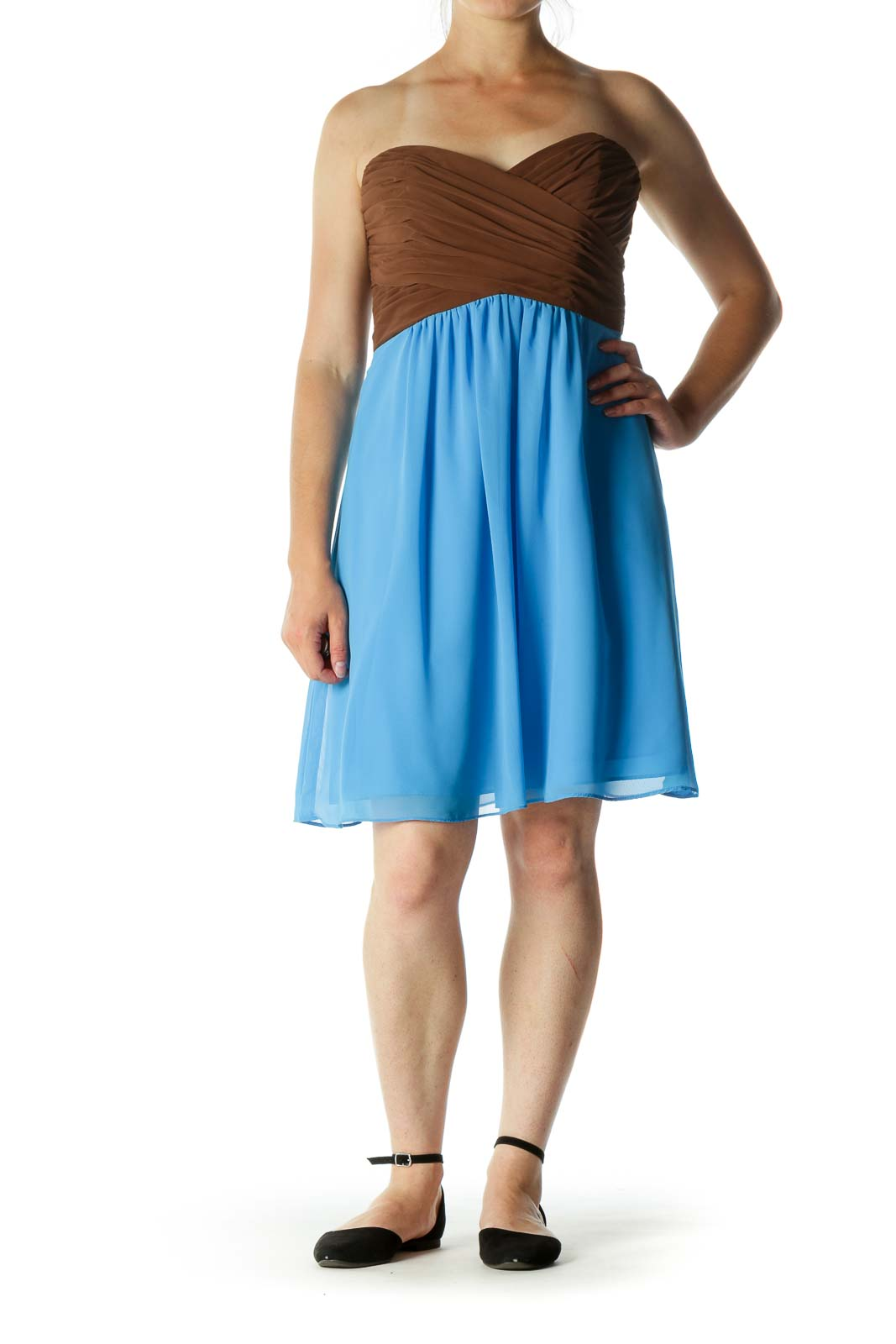 Blue and Brown Pleated Strapless Dress
