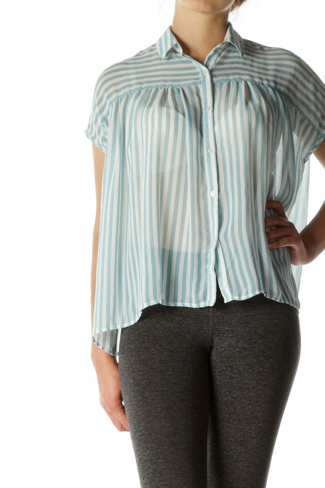Blue White Striped Translucent Button Top
