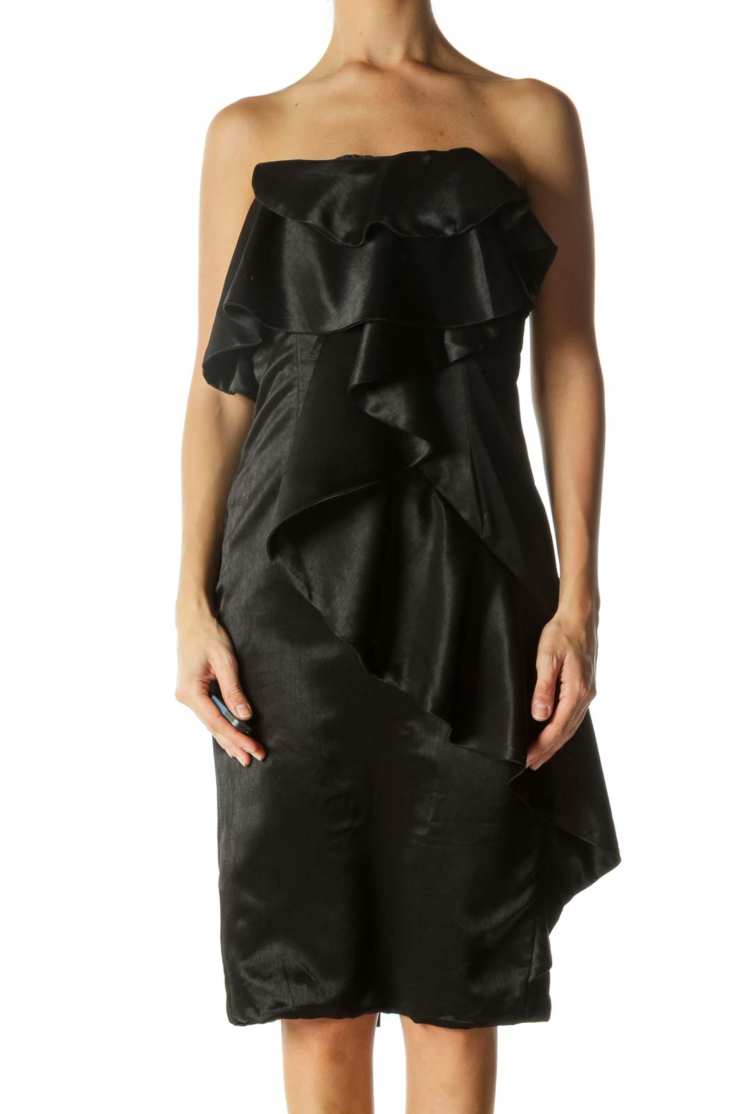 Black Ruffled Strapless Dress