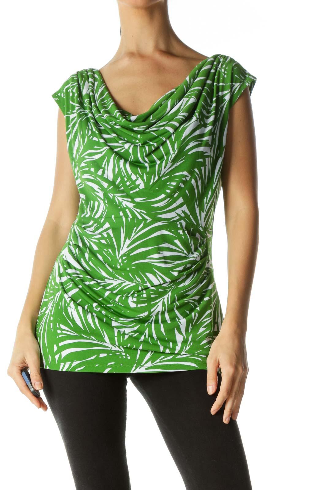 Green White Palm Leaves Print Stretch Tank Top