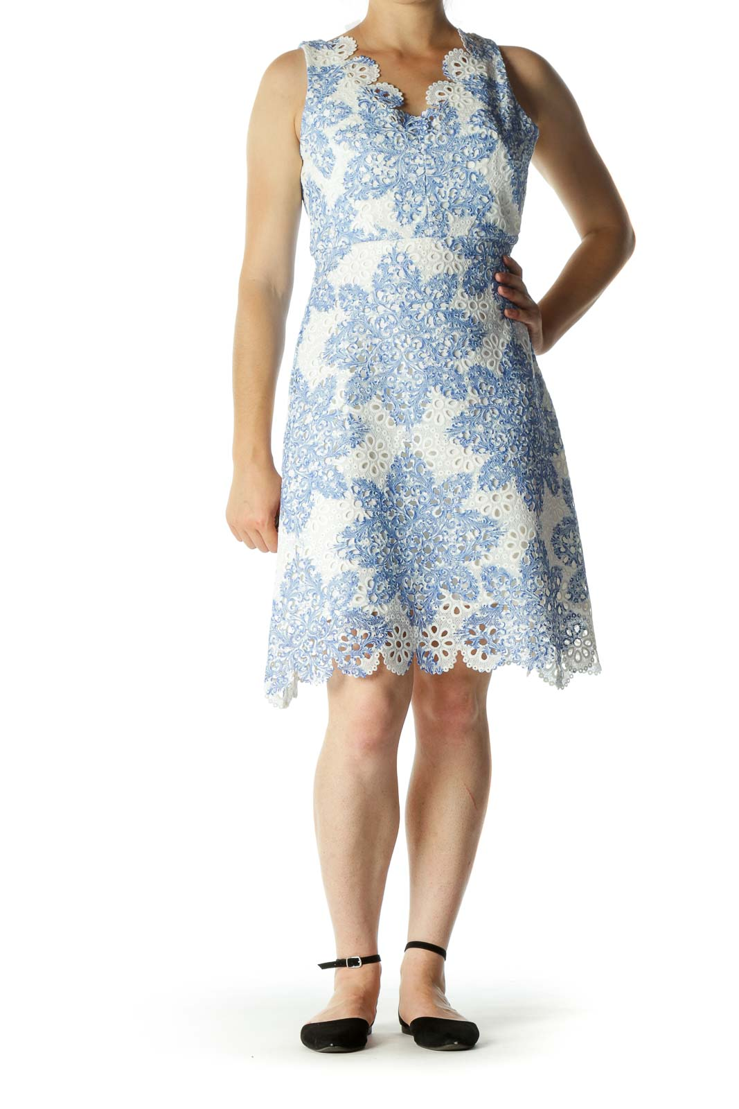 Cream Blue Eyelet Knit Textured Day Dress