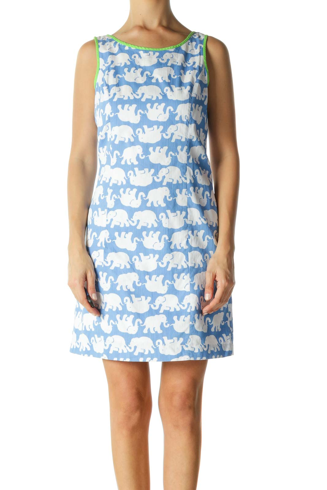 Blue White Green Elephant Textured Print Day Dress