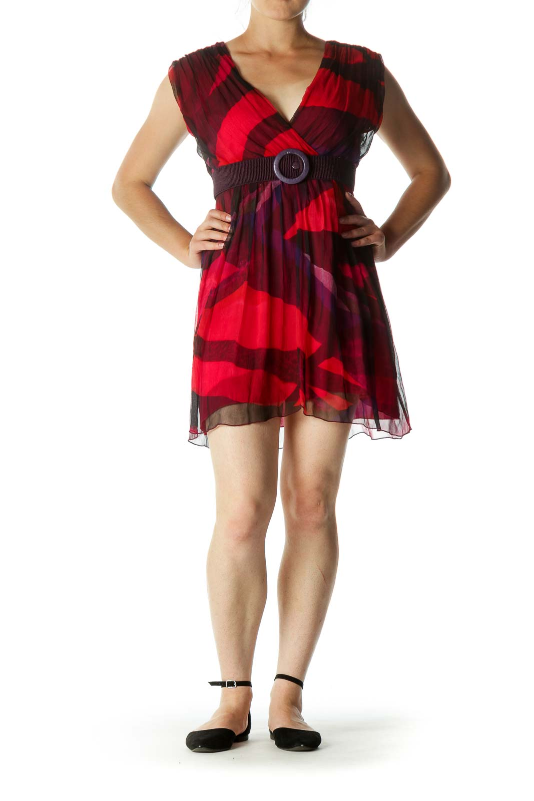 Red Black Blue Silk Print Belted Day Dress