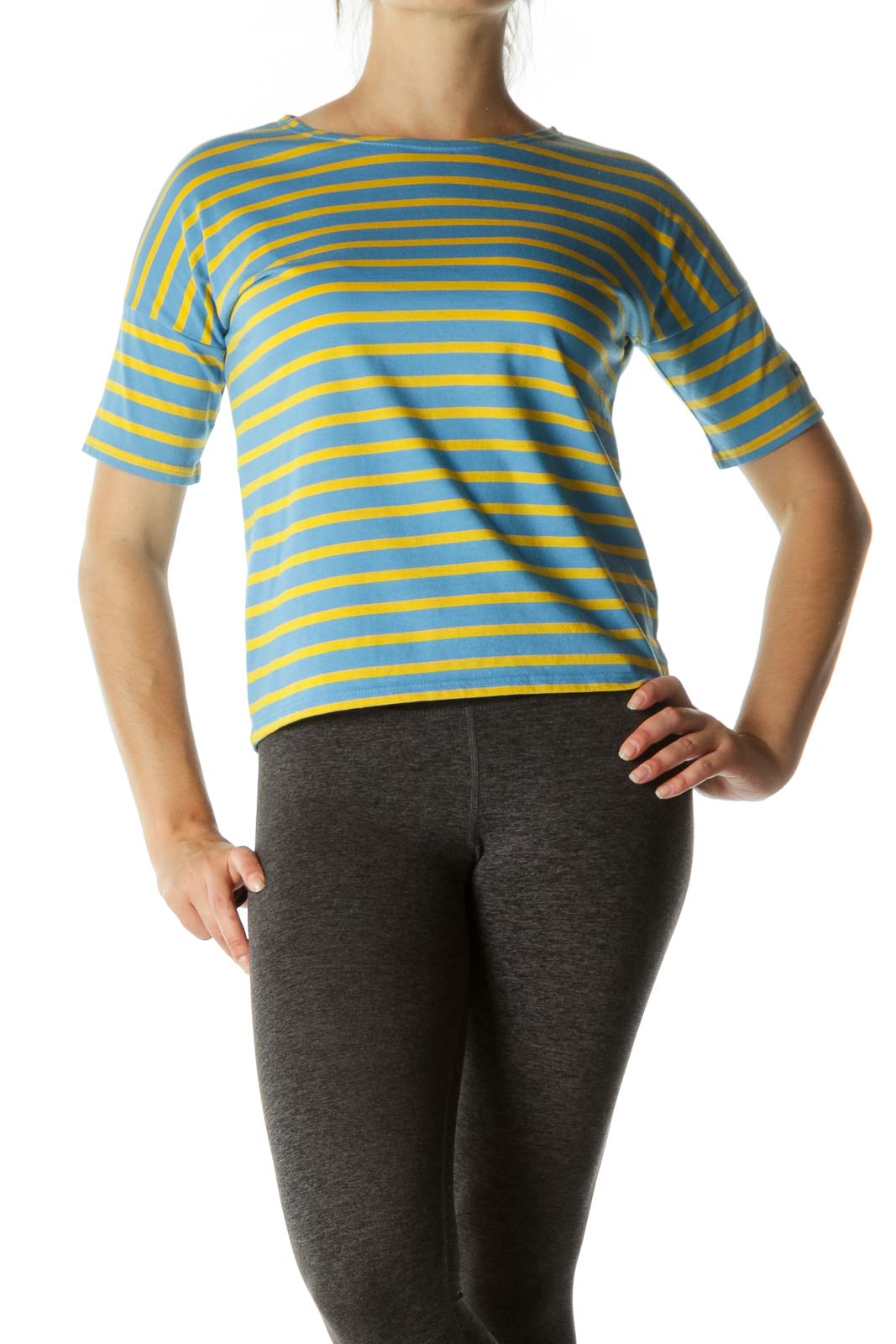 Blue Yellow 100% Cotton Short Sleeve Stretch Top