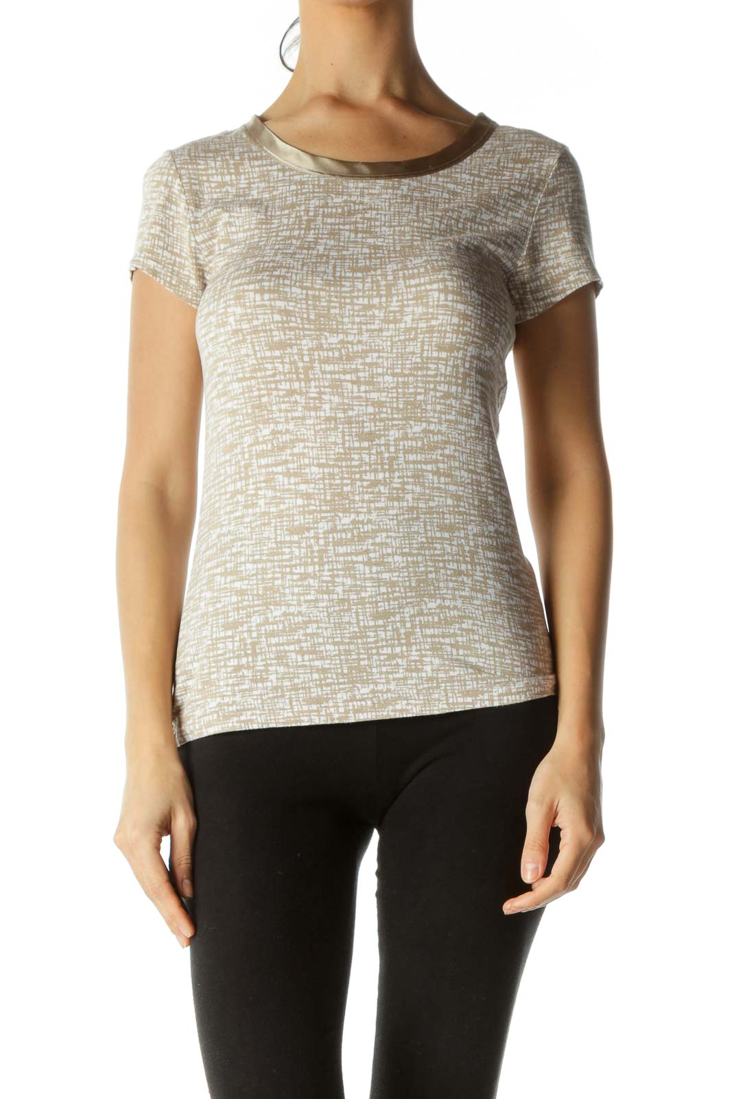 Brown Patterned Gold Collar T-shirt