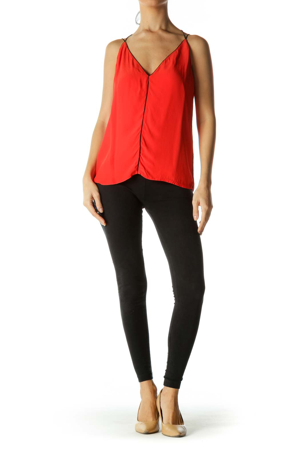 Orange Black Contrasting Piping V-Neck Blouse