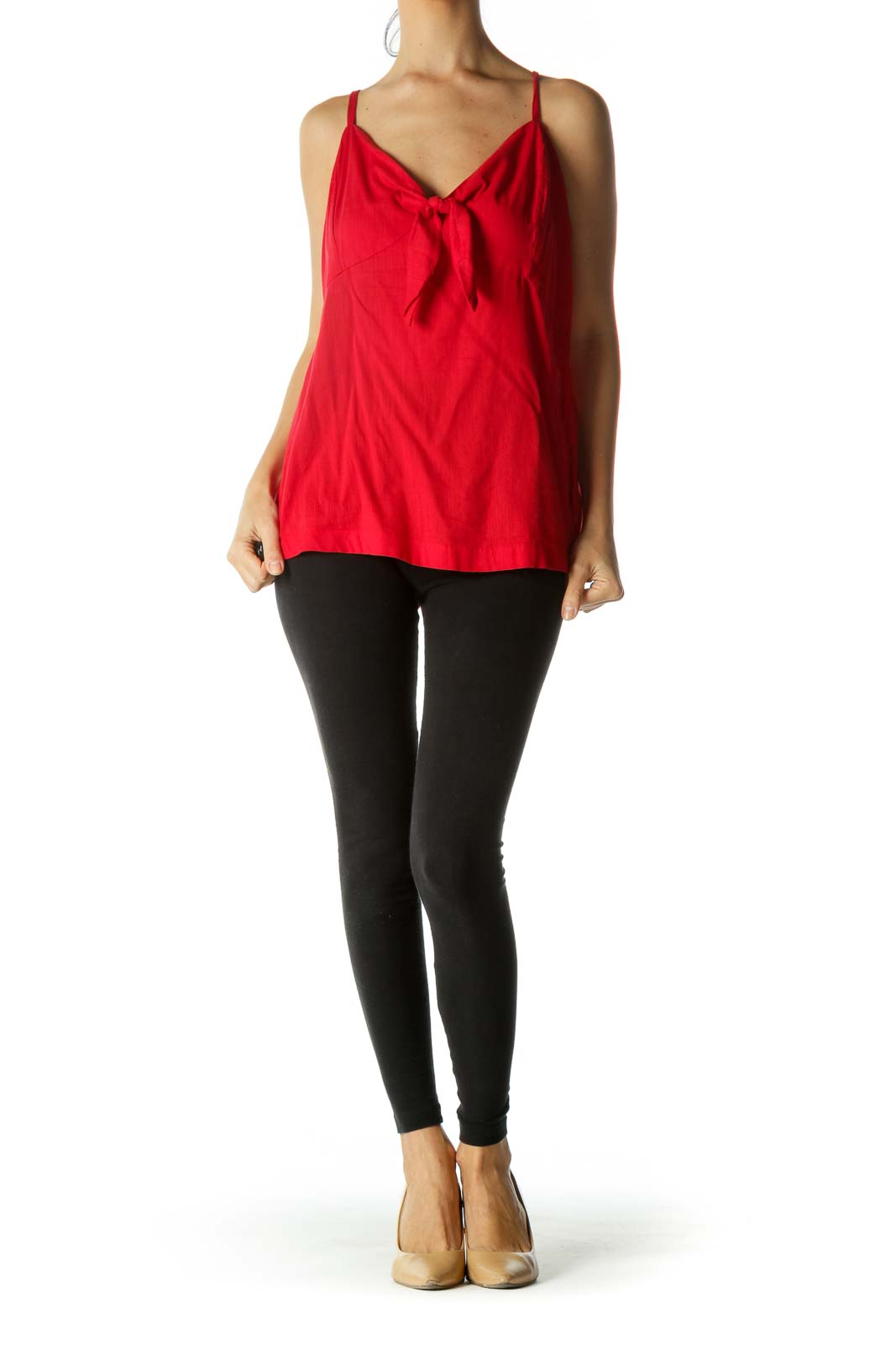 Red Cotton Blend Spaghetti Strap Knot Top