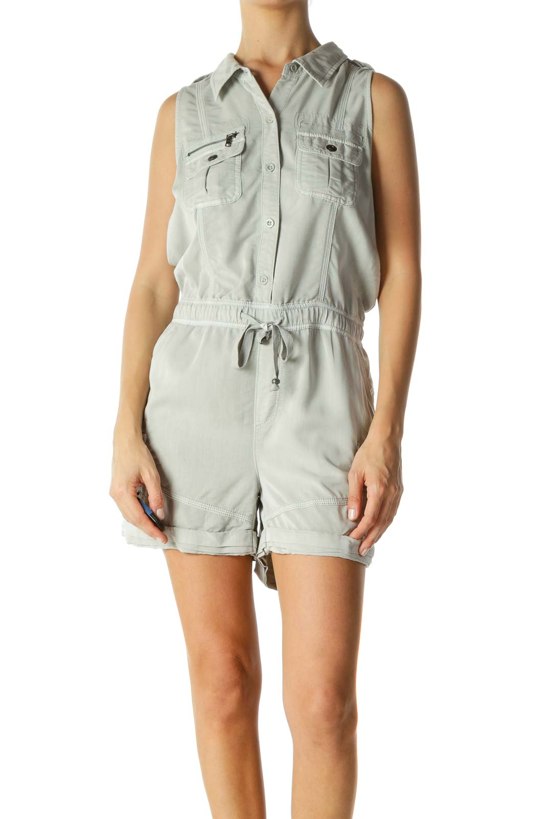 Gray Pocketed Drawstring Zippered Field Romper