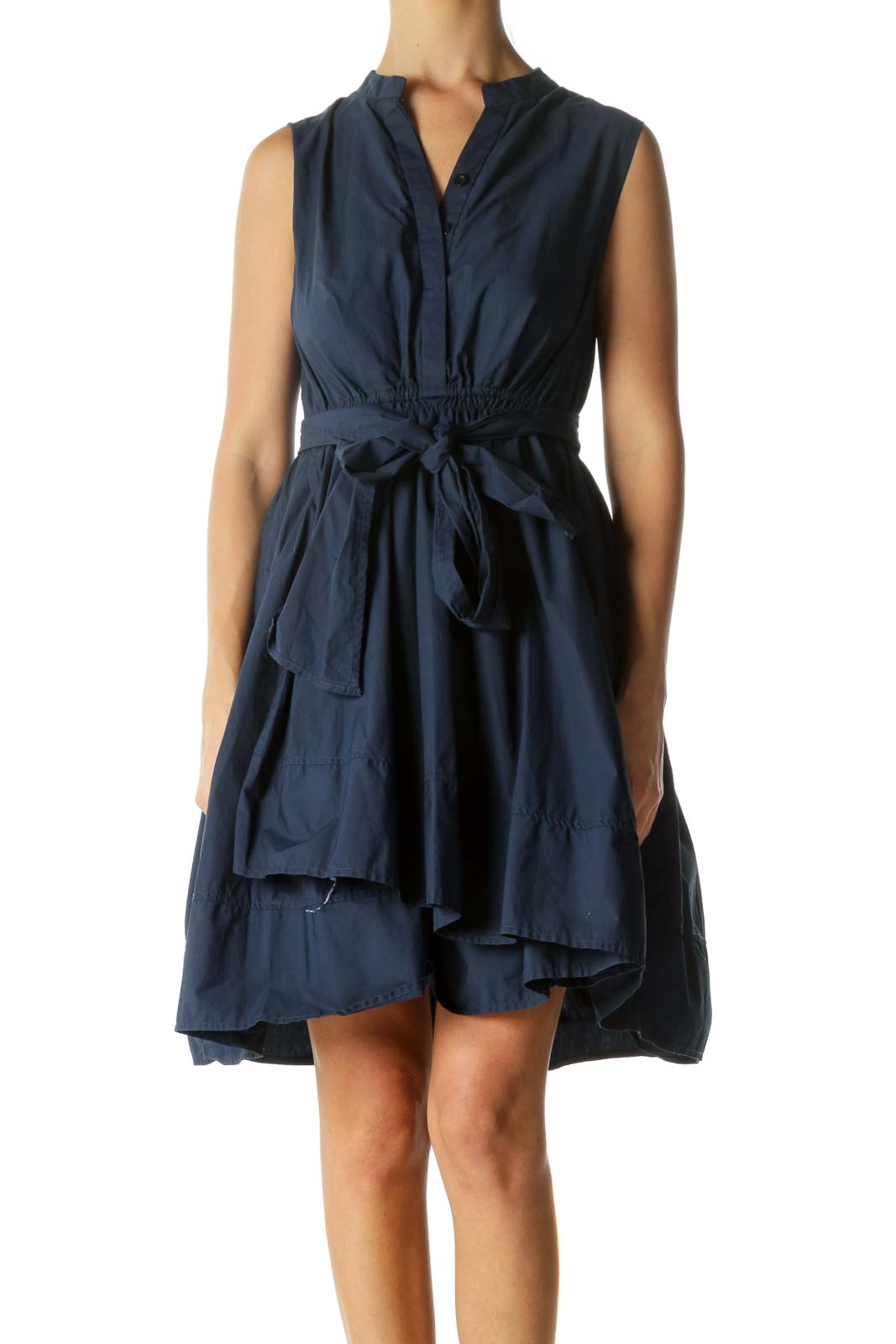 Blue 100% Cotton Elastic Waist Belted Day Dress