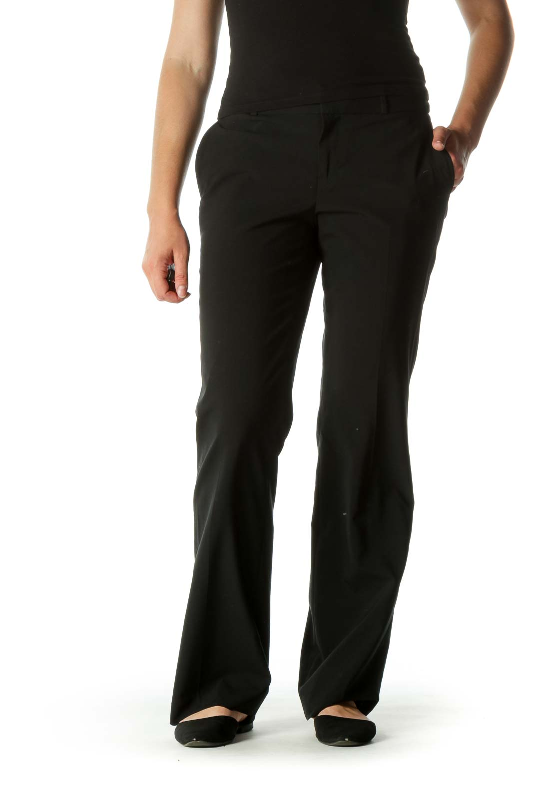 Black Wool Blend Straight Pocketed Leg Pants