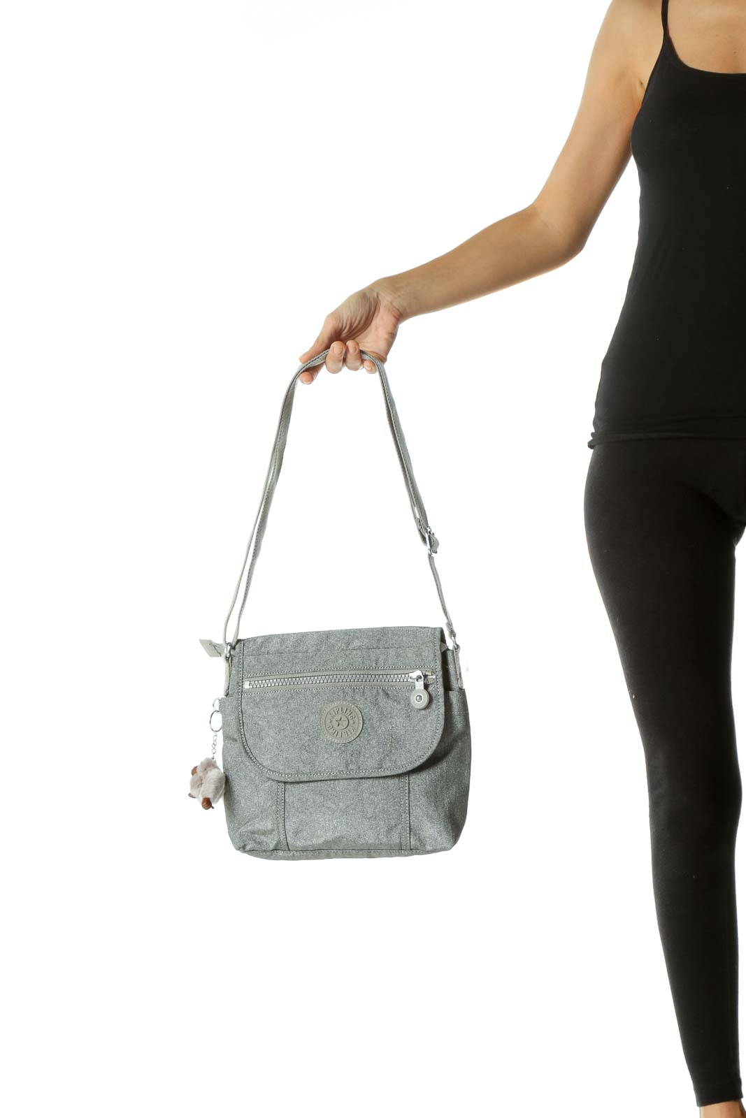 Gray Metallic Zippered Crossbody Bag