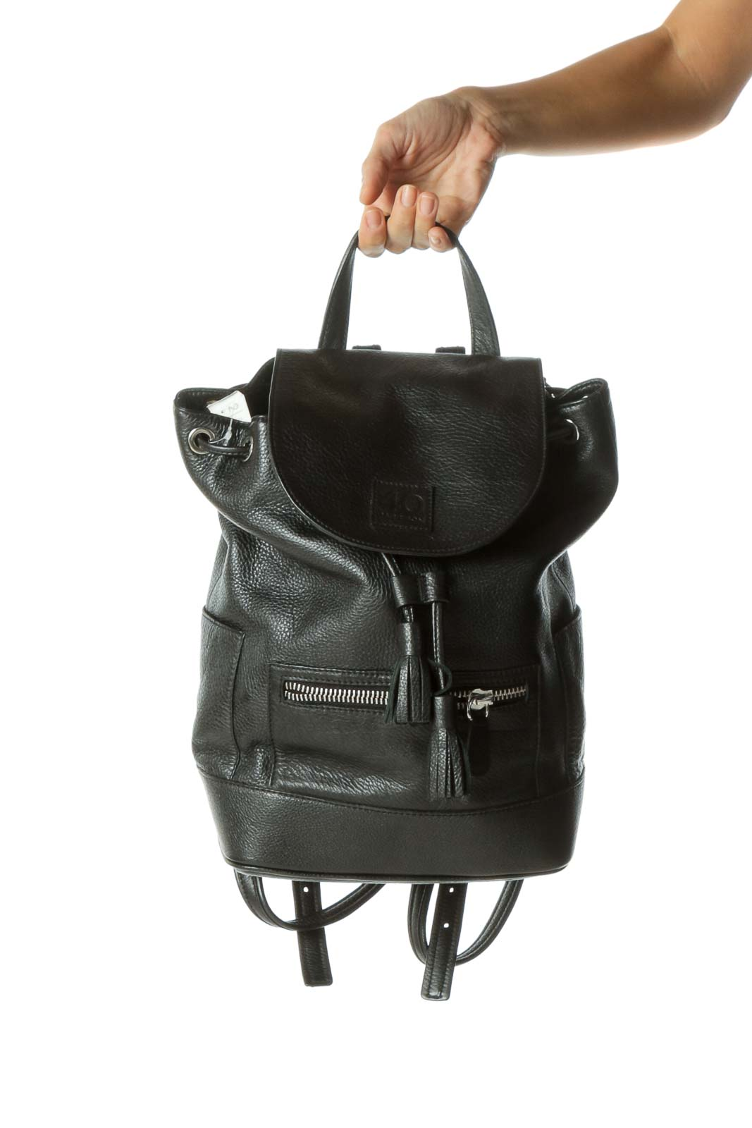 Black Drawstring Zippered Backpack