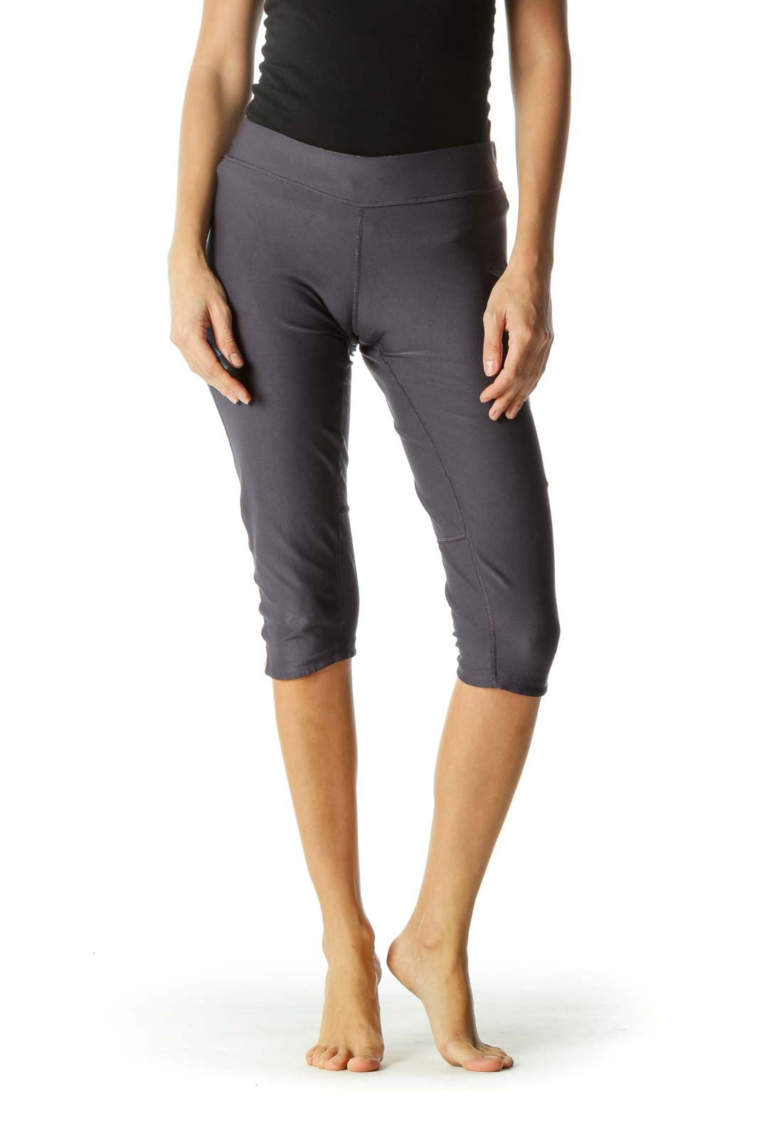 Blue Yellow Cropped Stretch Active Pants