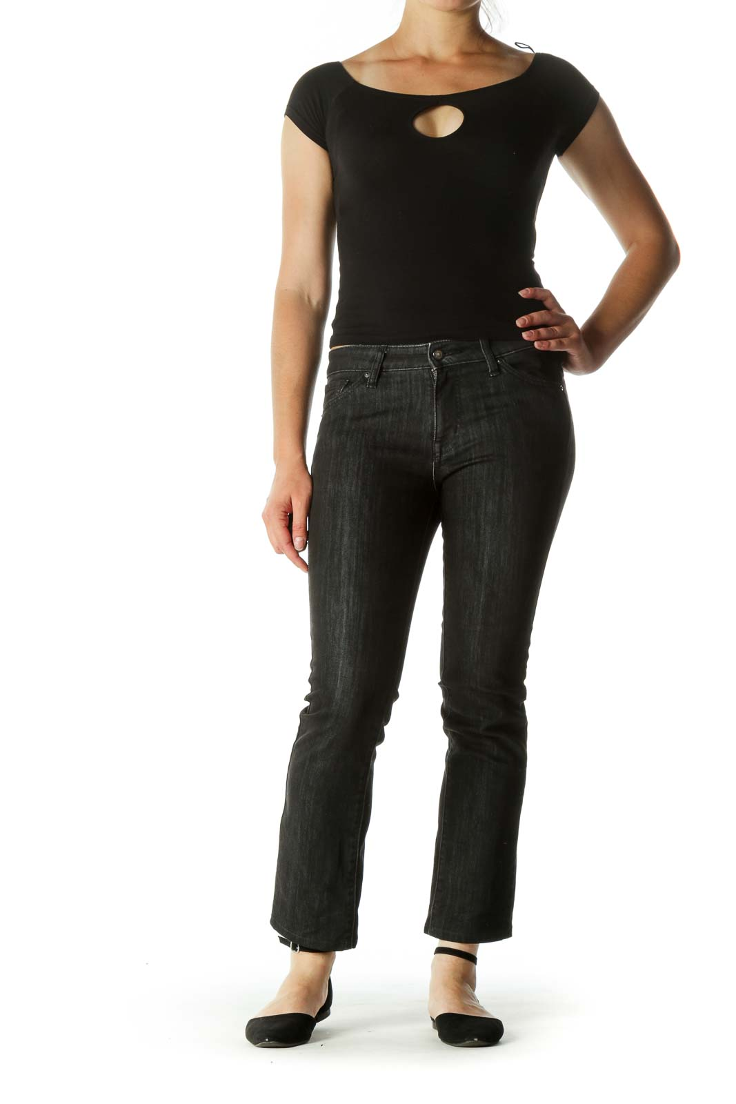 Dark Gray Straight Leg Stretch Pants