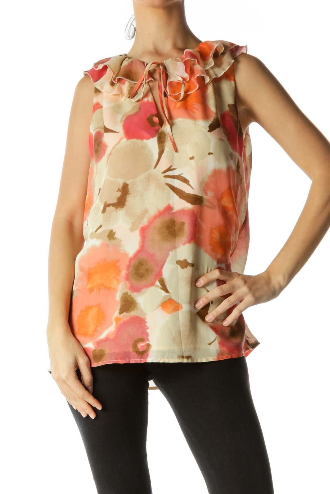 Multicolored V-Neck Ruffle Neck Detail Abstract Print Top