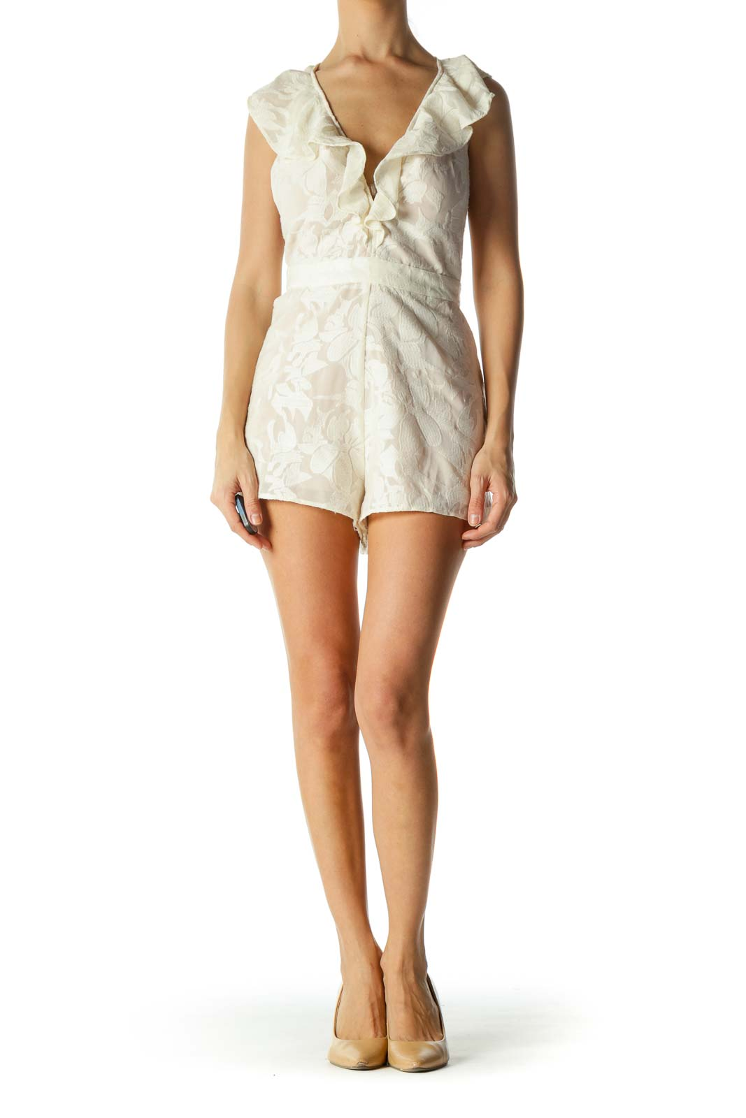 Cream Deep V-Neck Embroidered V-Neck Back Pocketed Romper