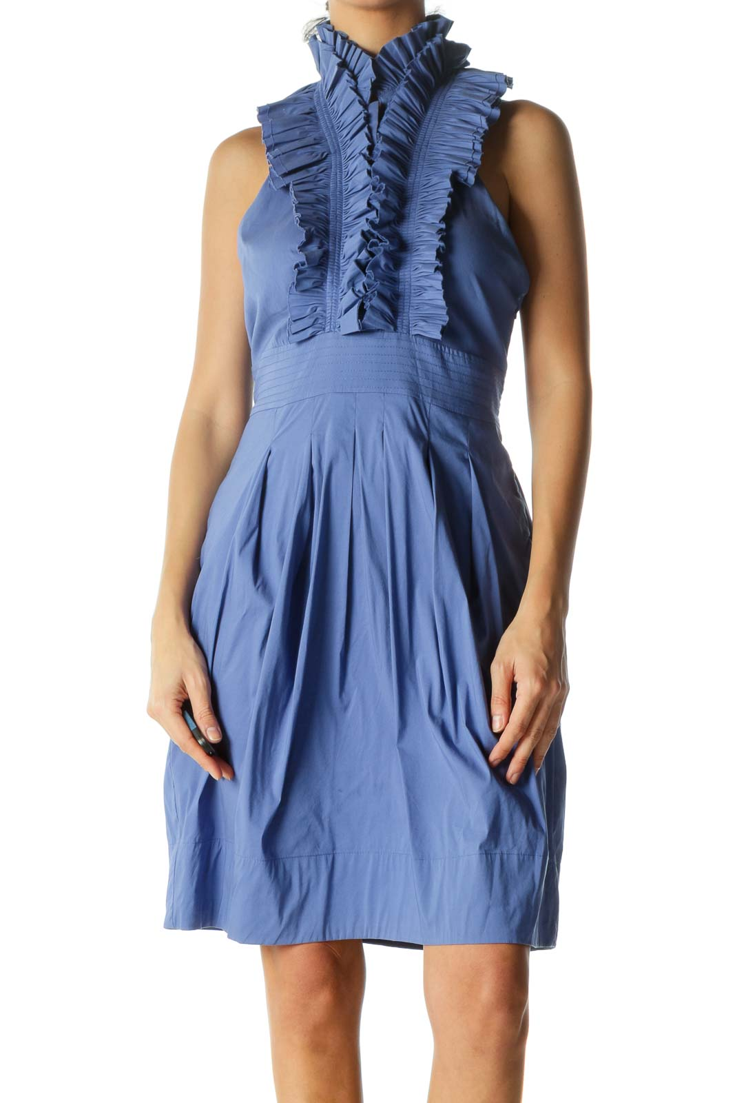 Blue V-Neck Ruffled Belted Open Back Stretch Day Dress