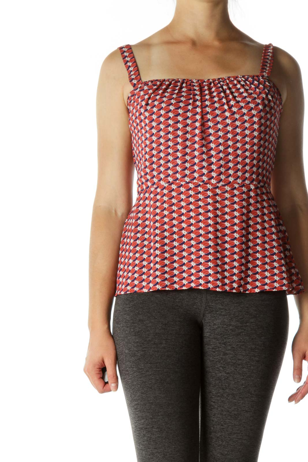 Red Patterned Smocked Tank Top