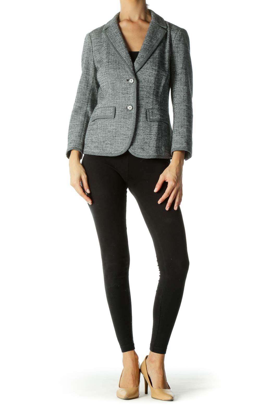 Gray Tweed Button Down Blazer