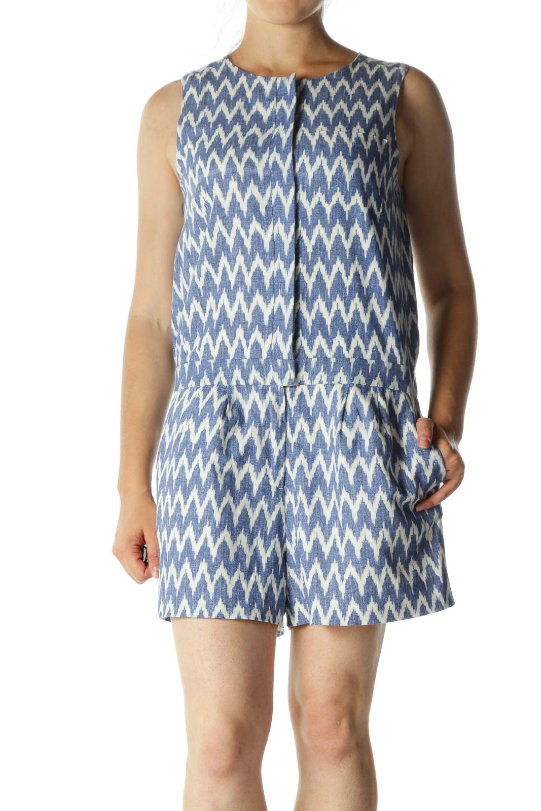 Blue White Linen Cotton Blend Print Buttoned Pocketed Romper