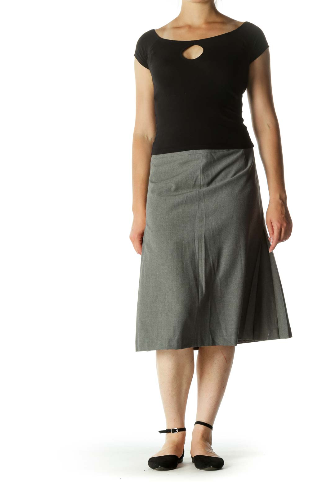 Gray Wool Blend A-Line Pleated Midi Skirt