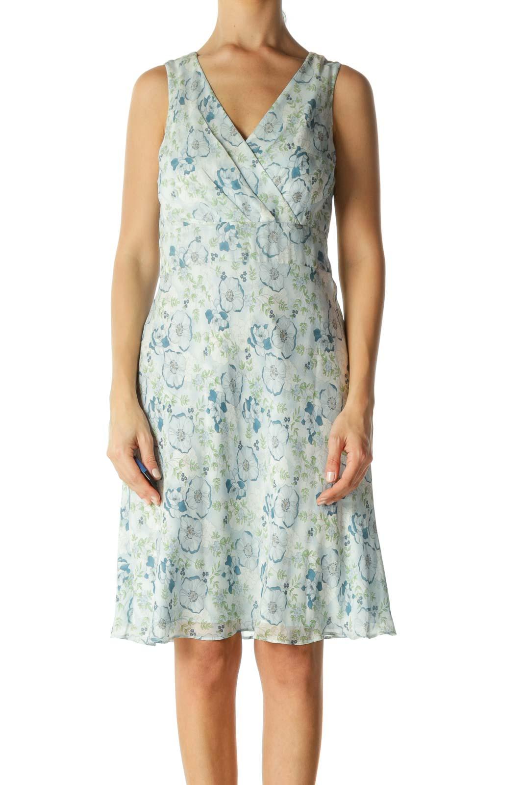 Blue Green White Silk Floral Print Surplice Day Dress