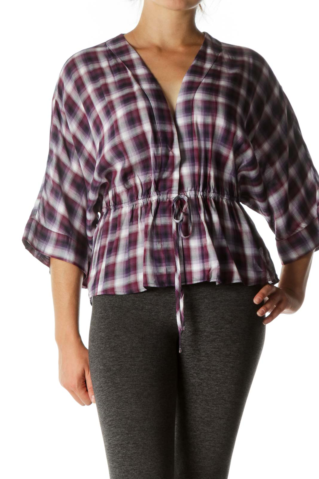 Purple Plaid Waist-Tie Blouse