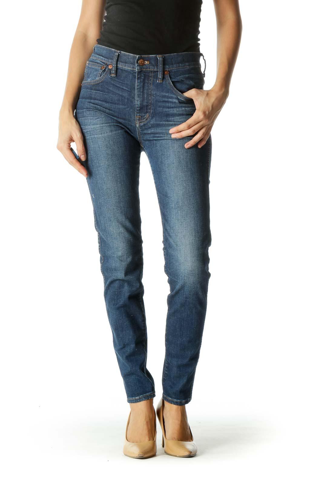 Blue Medium Wash Skinny High Rise Denim Pants