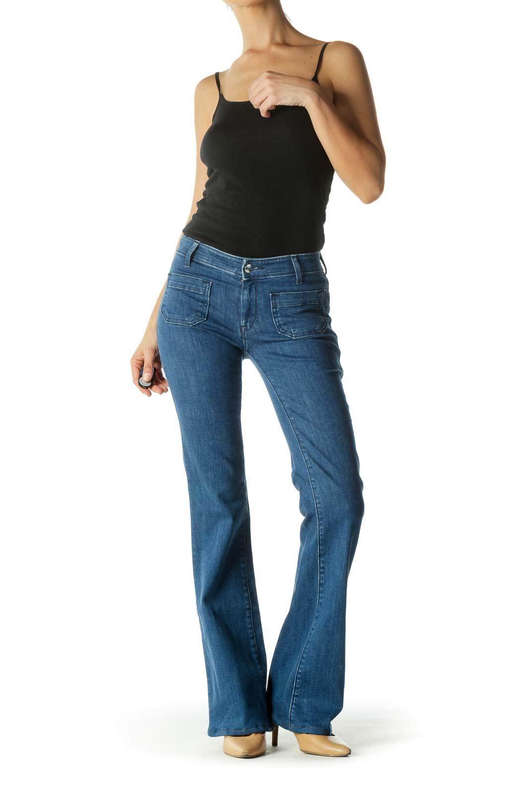 Blue Pocketed Flared Denim Jeans